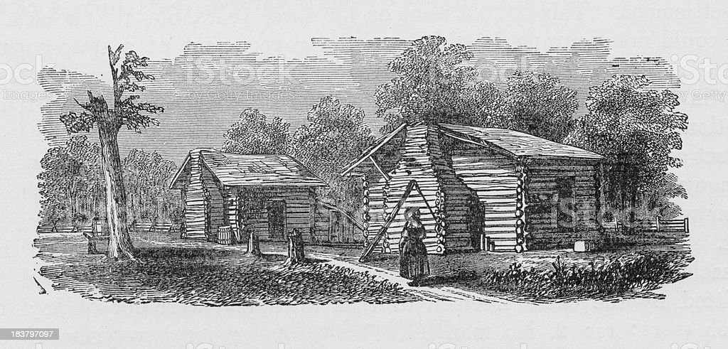 19th century illustration of settlers first home royalty-free stock vector art