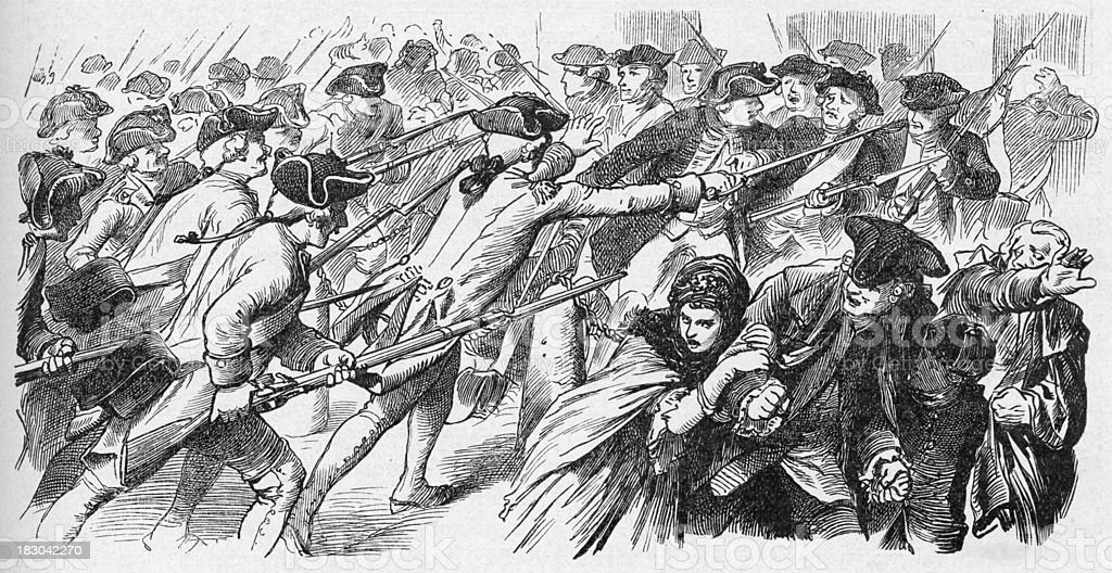 19th century illustration of soldiers attacking a growd royalty-free stock vector art