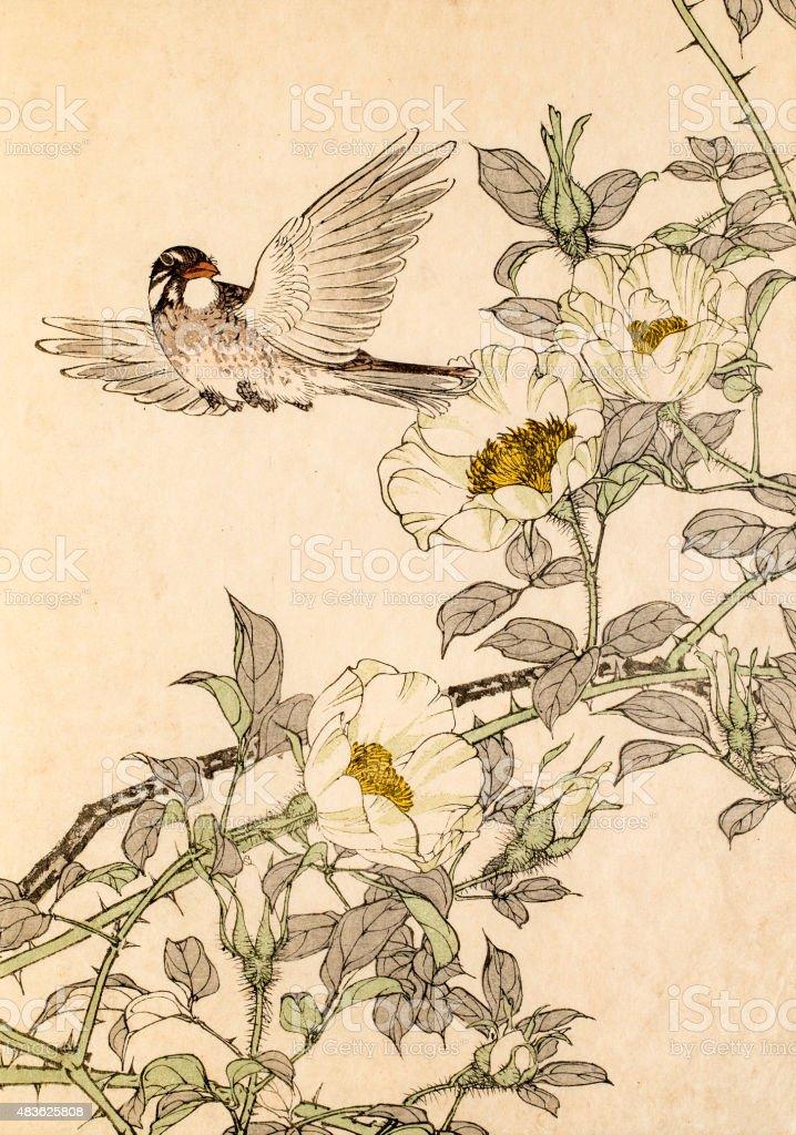 19th century Japanese woodblock print vector art illustration