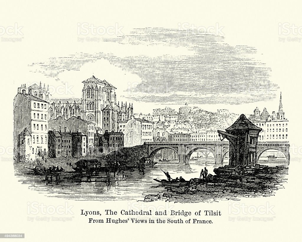 19th Century Lyons, The Cathedral and Bridge of Tilsit vector art illustration