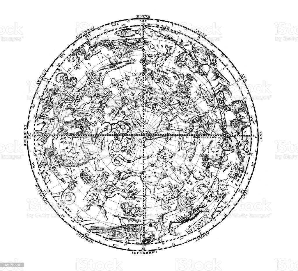 19th century map of the constellations in Northern Hemisphere vector art illustration