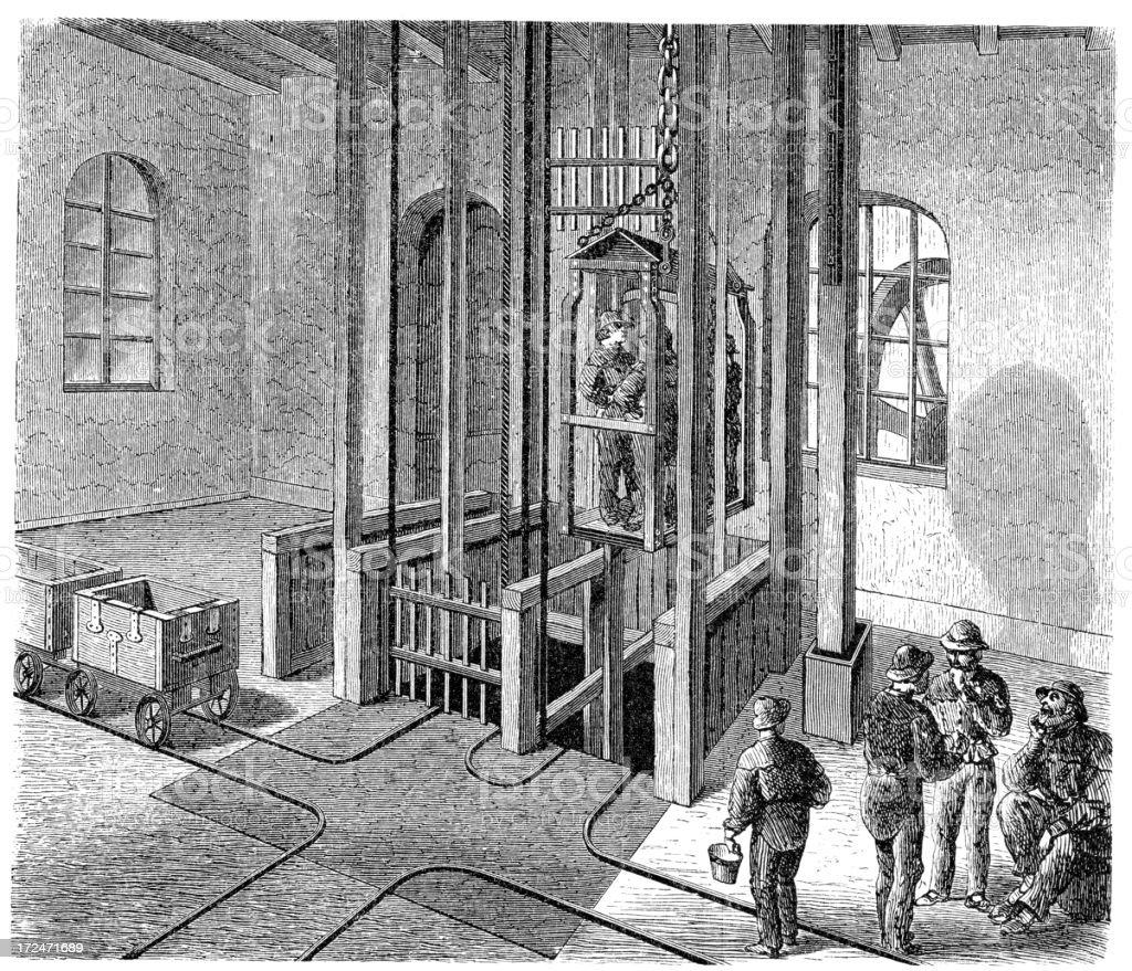 19th Century Mine Lift royalty-free stock vector art