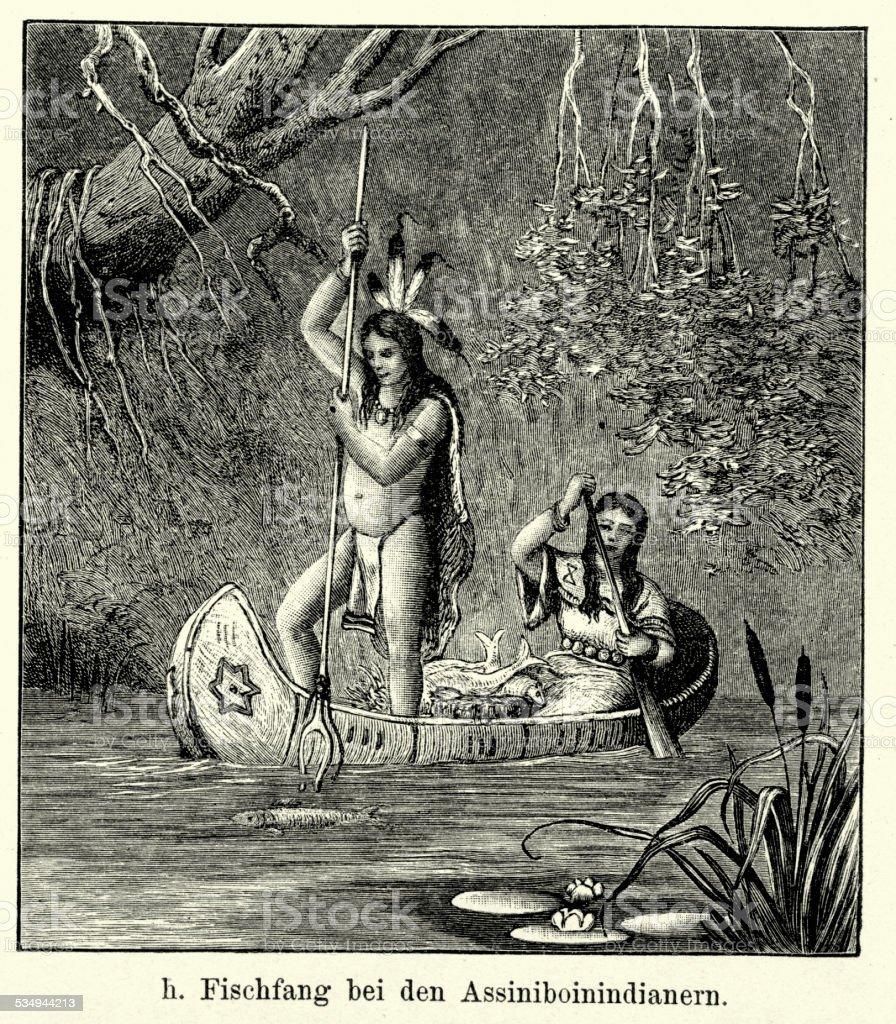 19th Century North America - Assiniboine Indians Fishing vector art illustration