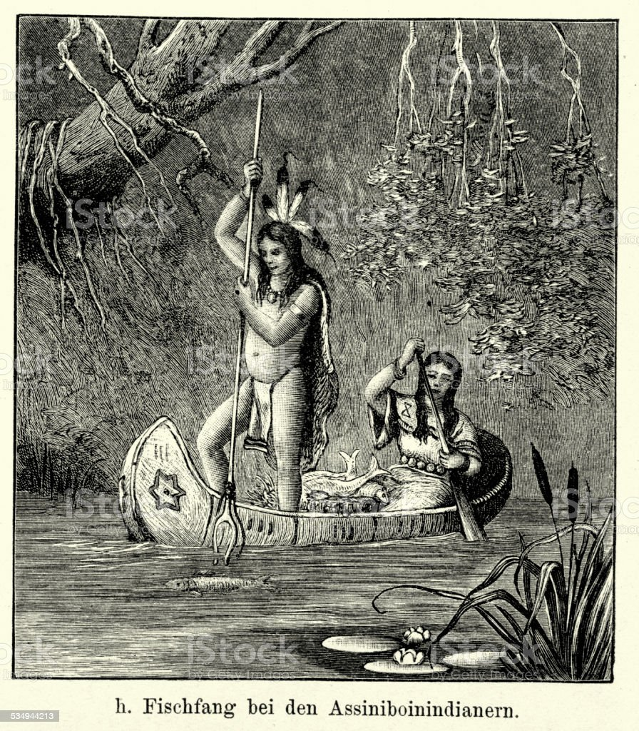 19th Century North America - Assiniboine Indians Fishing vector art illustration