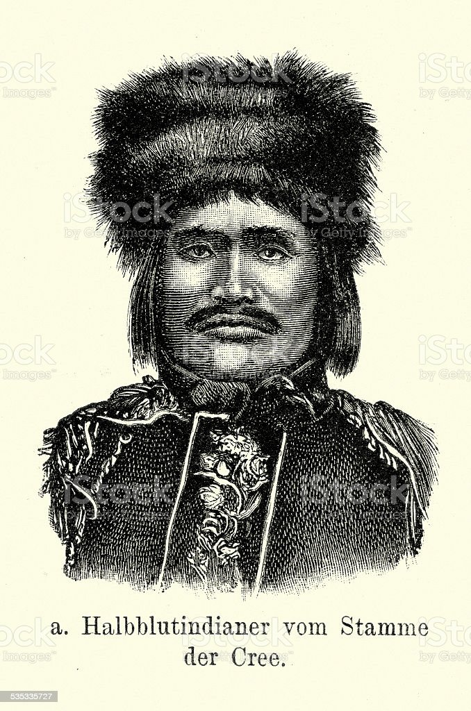 19th Century North America -  Cree Native American vector art illustration