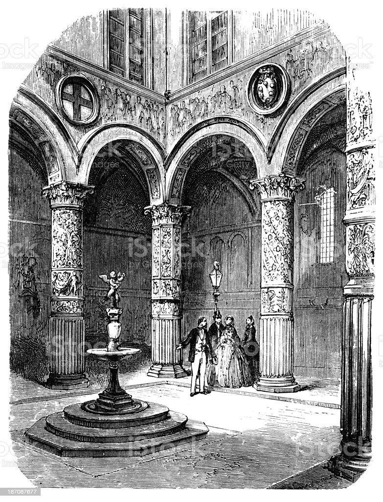 19th century of courtyard in Palazzo Vecchio, Florence, Italy vector art illustration