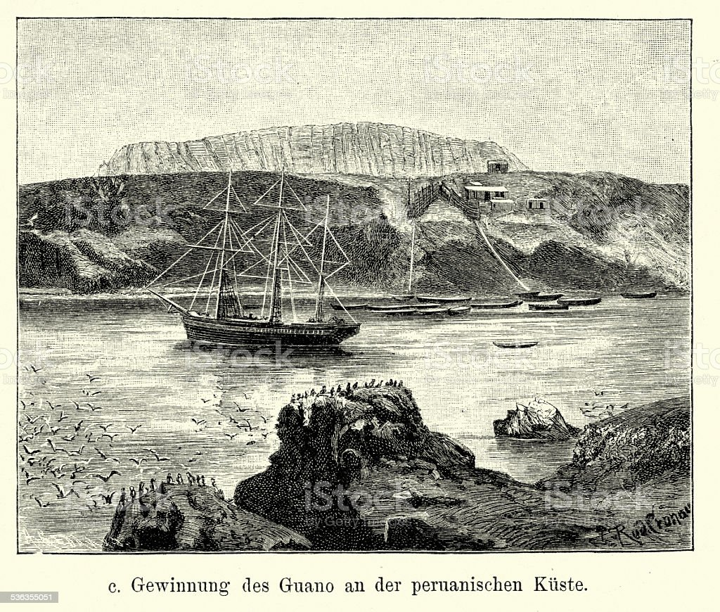 19th Century Peru - Extraction of Guano vector art illustration