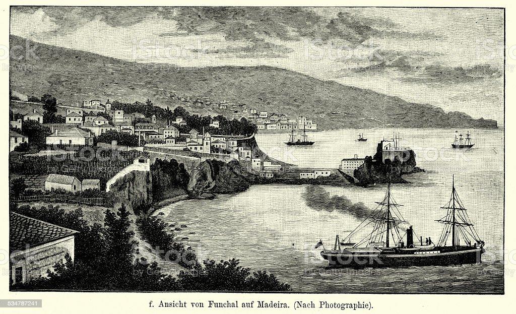 19th Century Portugal - Funchal Madeira vector art illustration