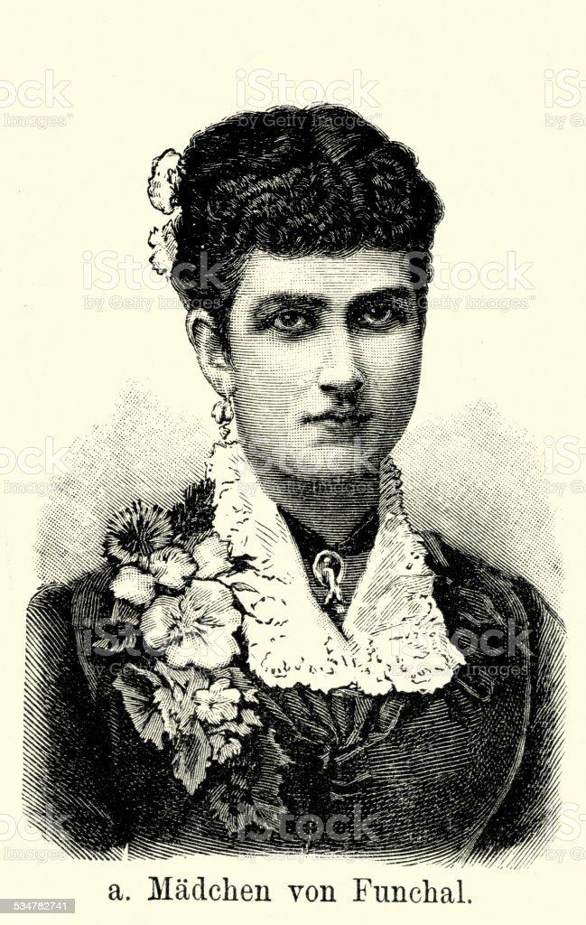 19th Century Portugal - Woman of Funchal vector art illustration