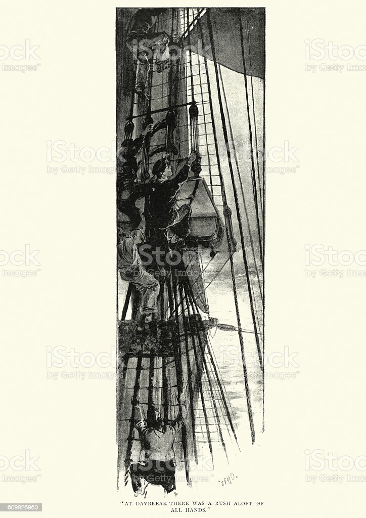 19th Century sailors climbing the rigging of a ship vector art illustration