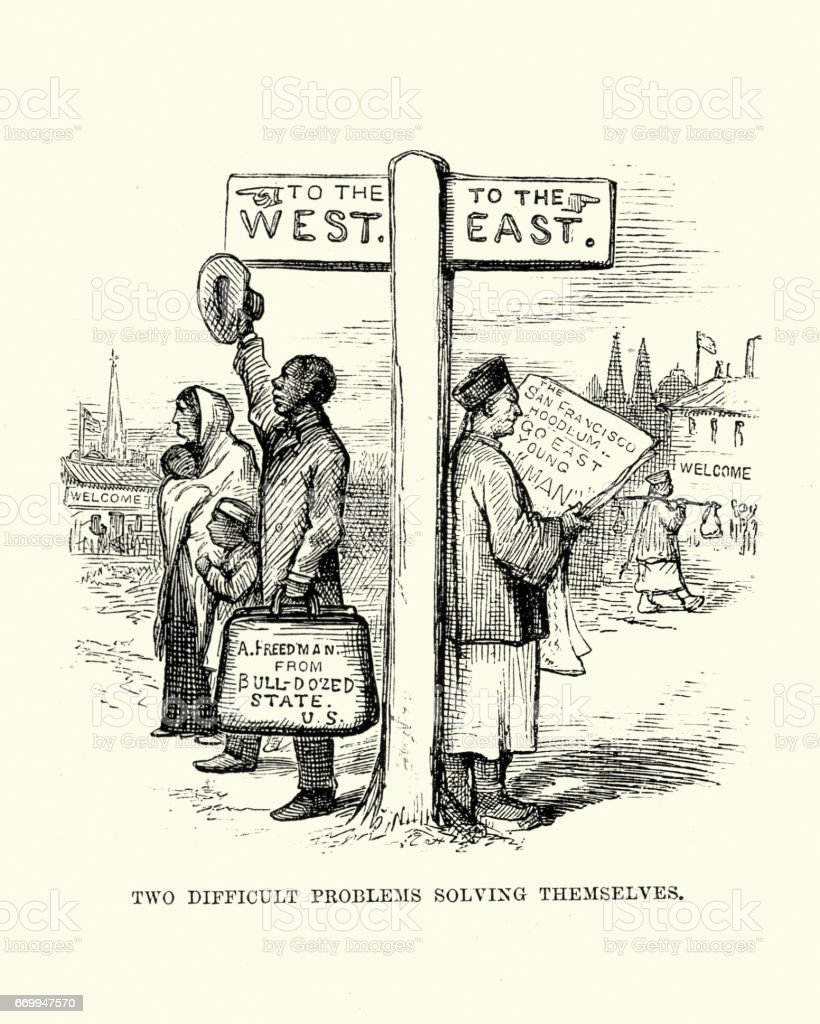 19th Century Satire on Immigration in the USA vector art illustration
