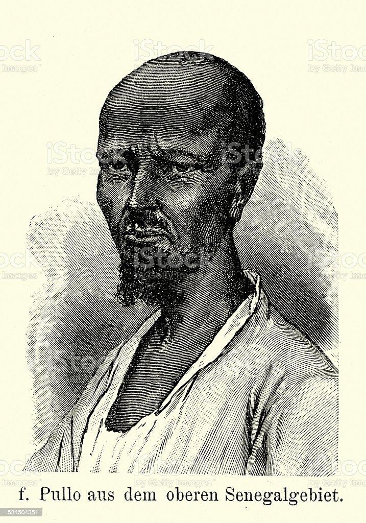 19th Century Senegal - Pullo Man vector art illustration