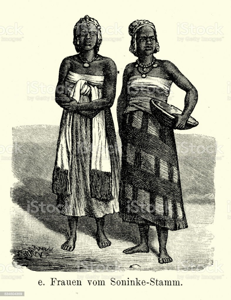 19th Century Soninke tribe vector art illustration