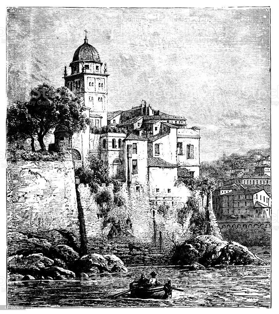 19th century view of Genoa, Italy vector art illustration