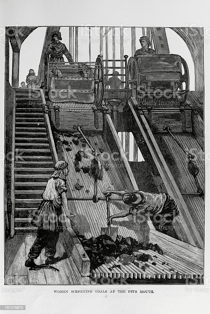 19th century workers showeling coal on a mine royalty-free stock vector art