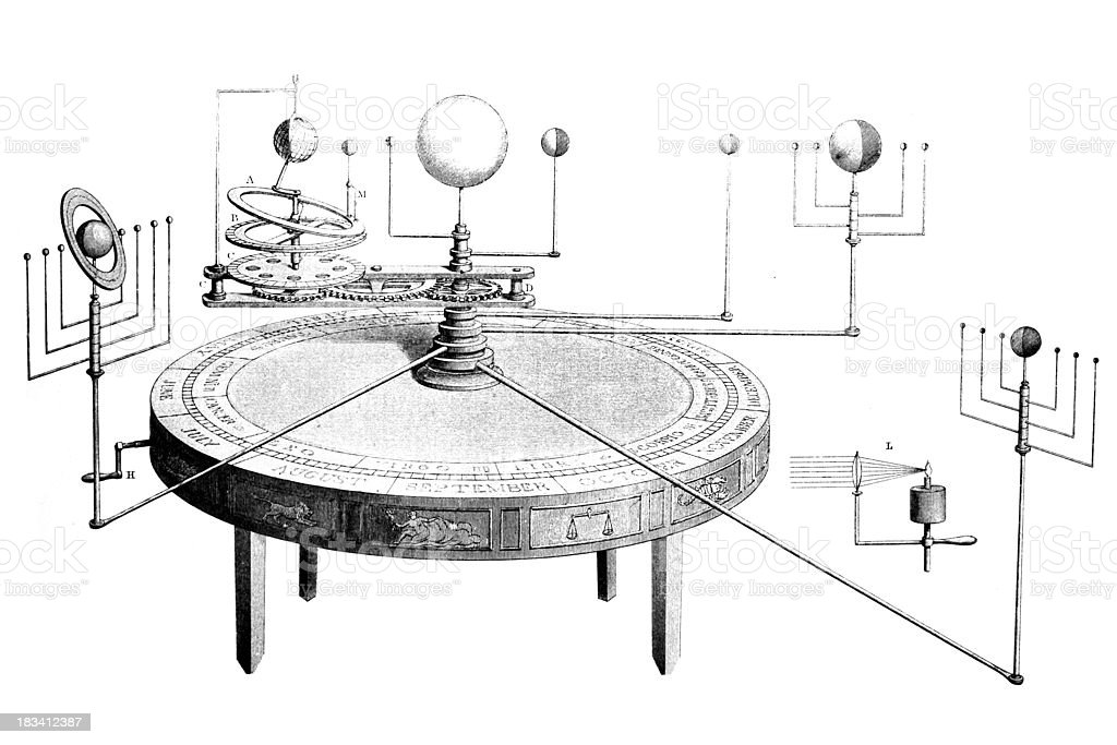 19th cntury ngraving of a planetarium vector art illustration