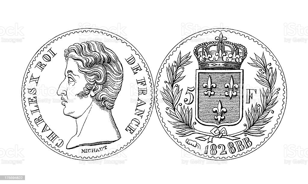 19th-century Charles X Five Franc Thaler Coin | Historic Illustrations vector art illustration