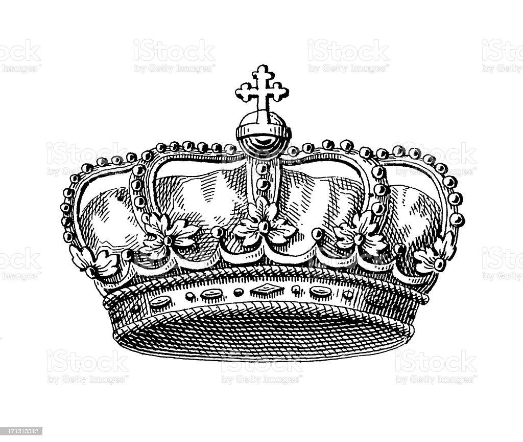 19th-century illustration of Danish royal crown vector art illustration