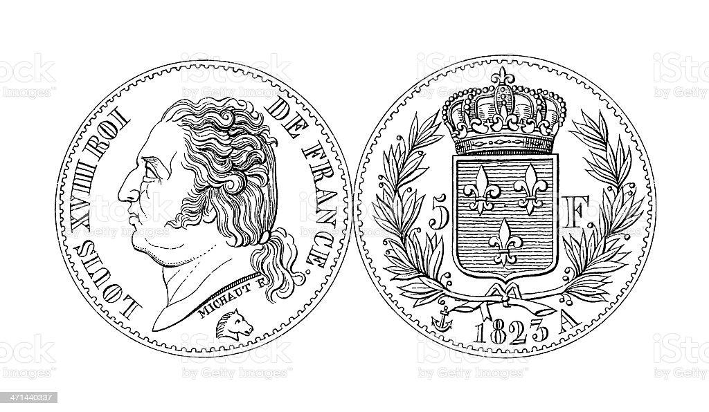 19th-century Louis XVIII Five Franc Thaler Coin | Historic Illustrations royalty-free stock vector art