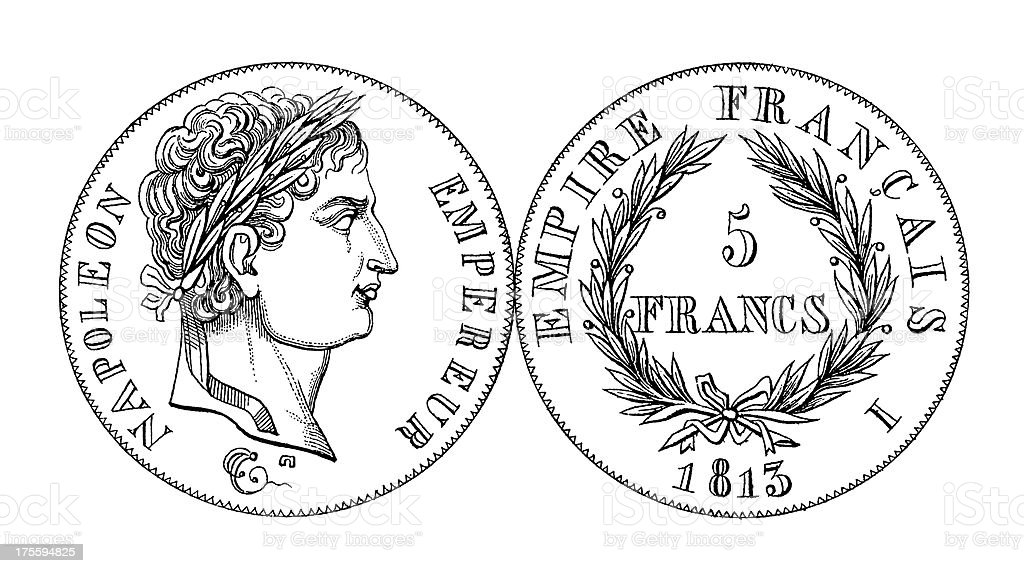 19th-century Napoleon Bonaparte Five Franc Coin | Historic Illustrations royalty-free stock vector art