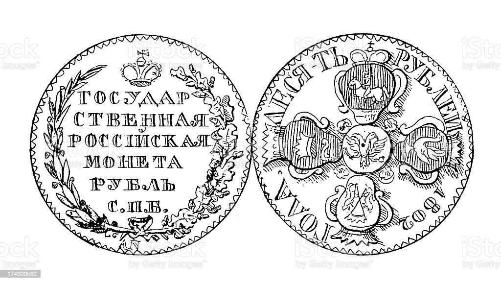 19th-century Russian Ruble Coin | Historic Illustrations vector art illustration