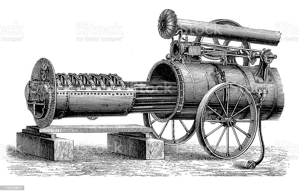 19th-century Traction Engine   Antique Scientific Illustrations vector art illustration
