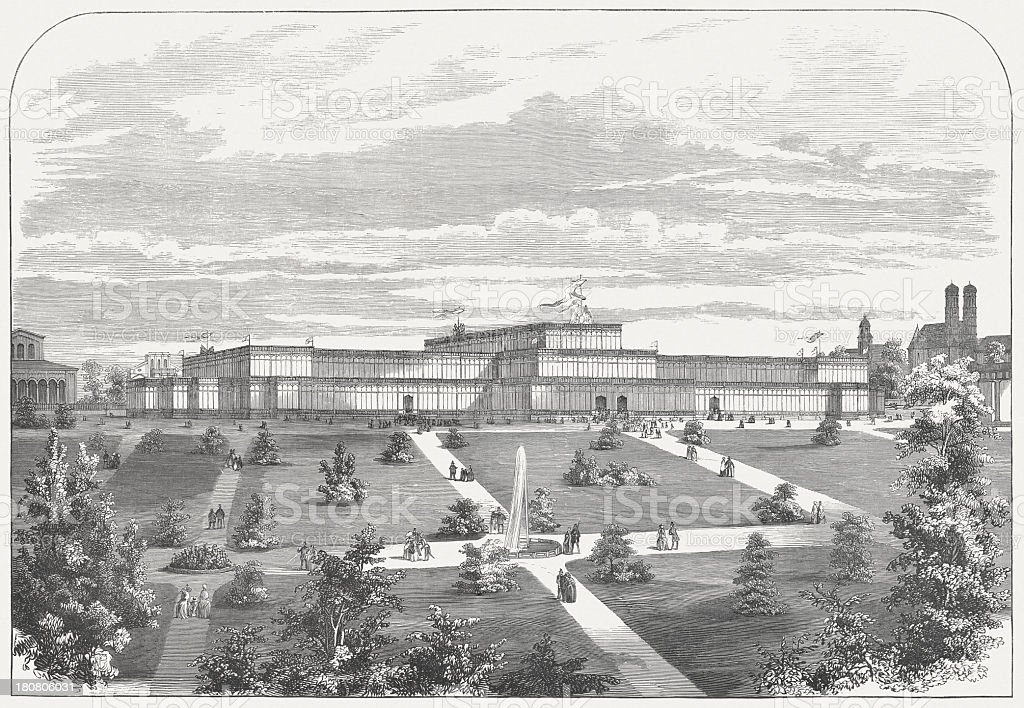 1th German Industrial Exhibition in Munich, 1854, published in 1854 royalty-free stock vector art