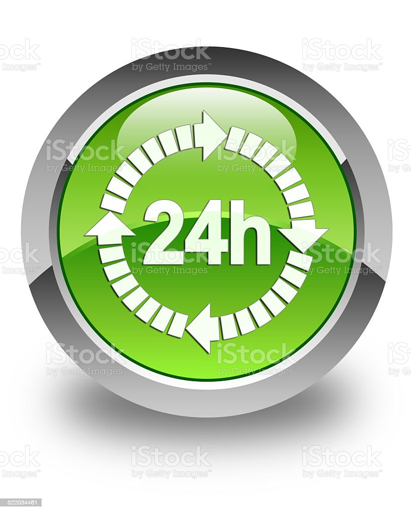 24h delivery icon glossy green round button vector art illustration