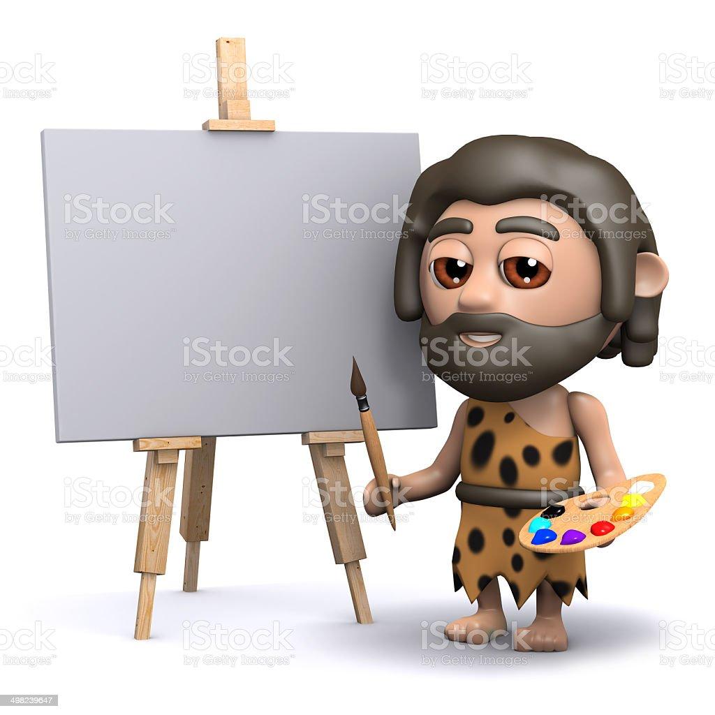 3d Caveman artist vector art illustration