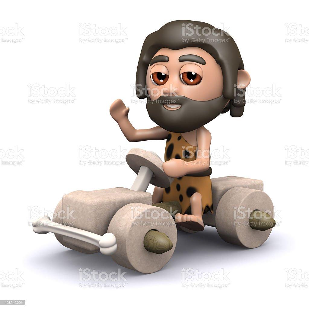 3d Caveman driving stone age car vector art illustration