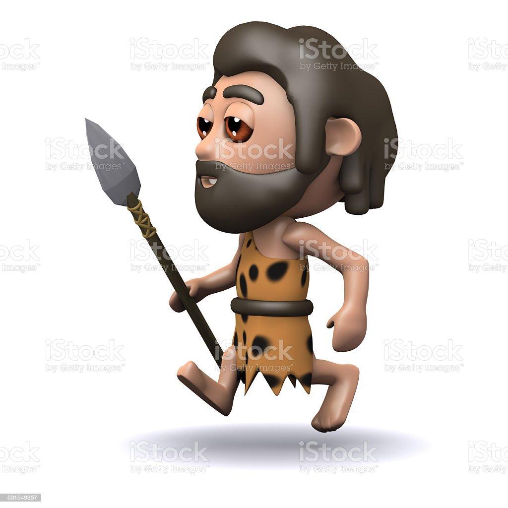 3d Caveman running with a spear vector art illustration