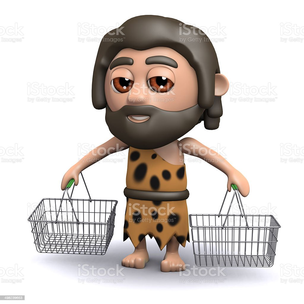 3d Caveman shopper vector art illustration