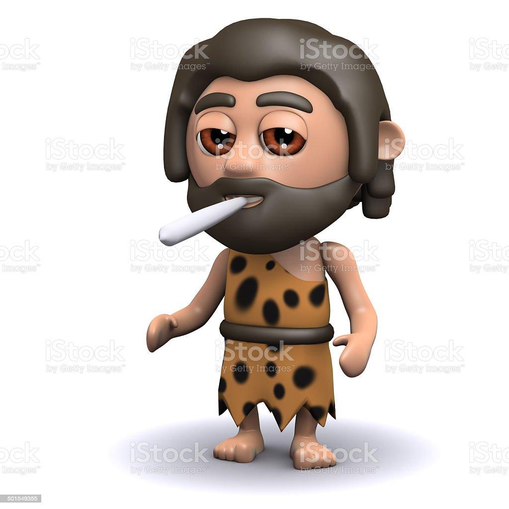 3d Caveman smoking a cigarette vector art illustration