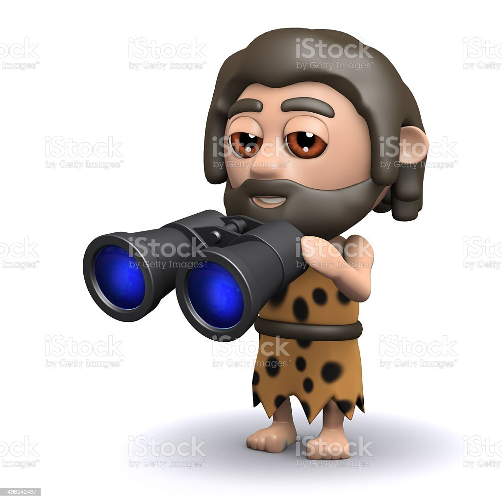 3d Caveman with binoculars vector art illustration