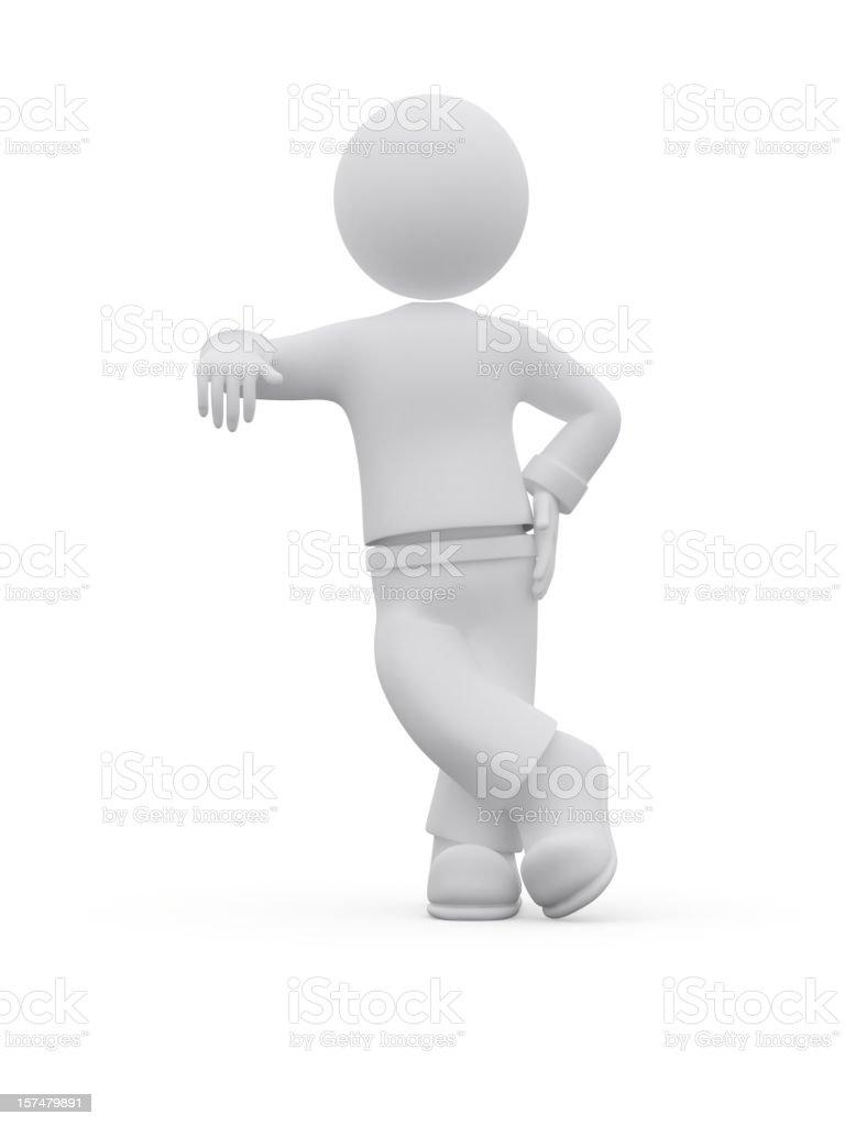 3d character leaning. vector art illustration