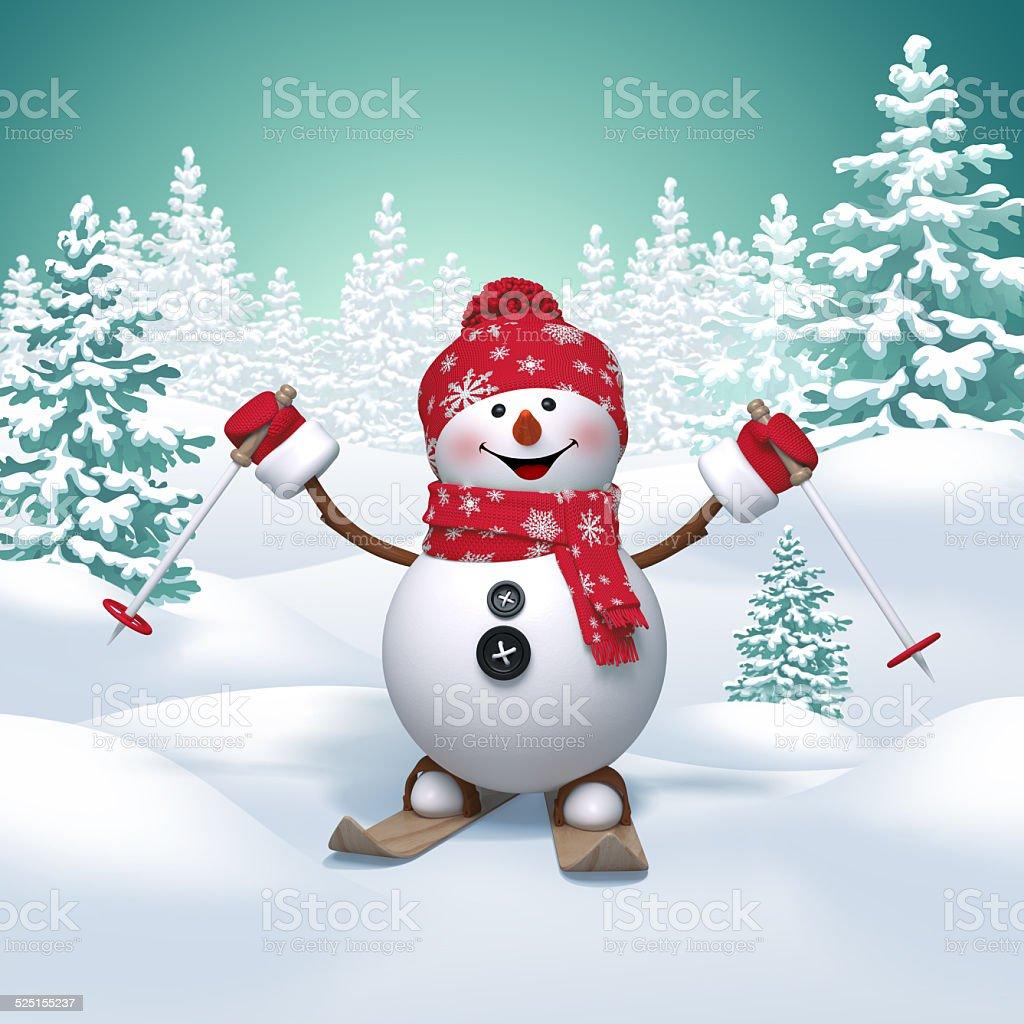 3d funny snowman skiing downhill, winter landscape background vector art illustration