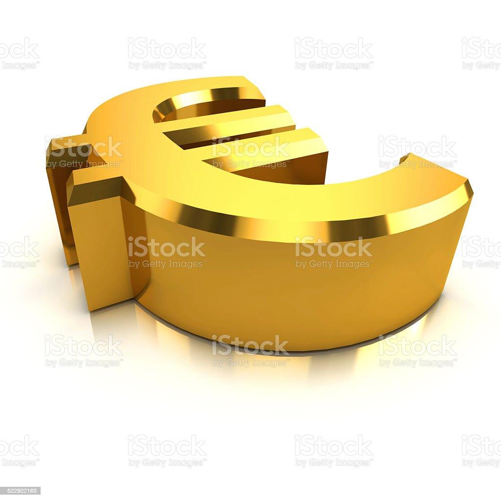 3d Gold Euro currency symbol vector art illustration