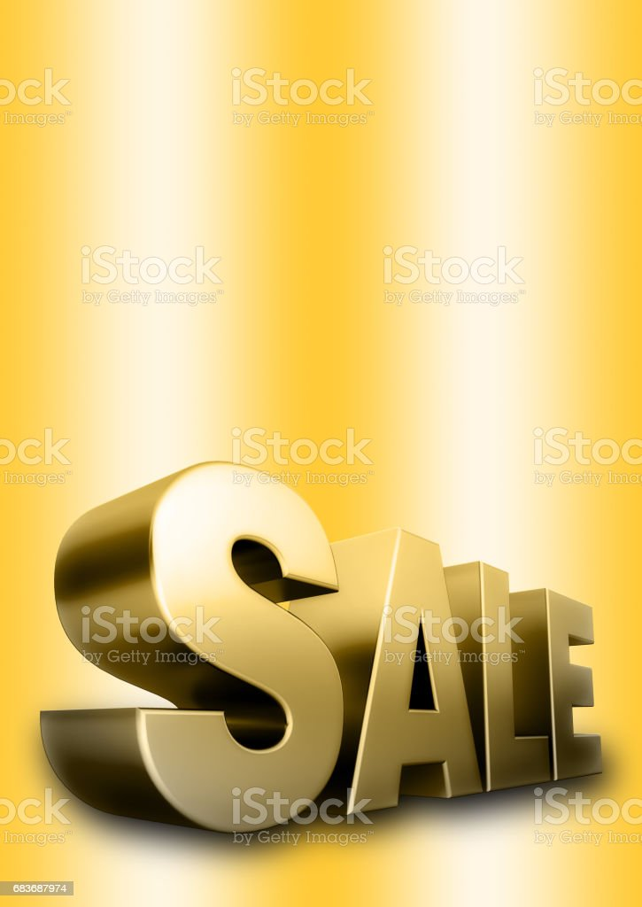 3d Golden SALE text, isolated against the golden background vector art illustration