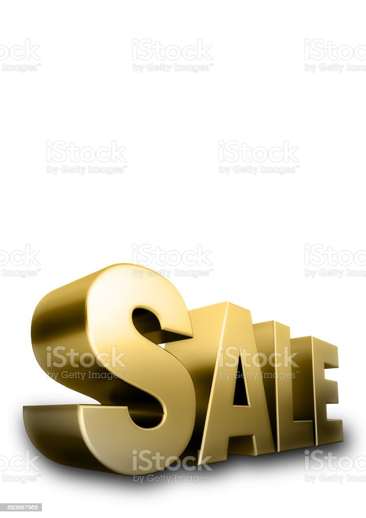 3d Golden SALE text, isolated against the white background vector art illustration