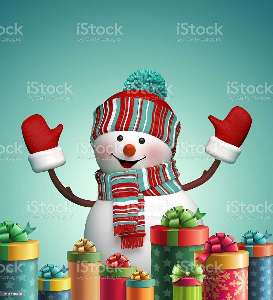 3d happy snowman and wrapped Christmas gifts, winter holiday symbol vector art illustration