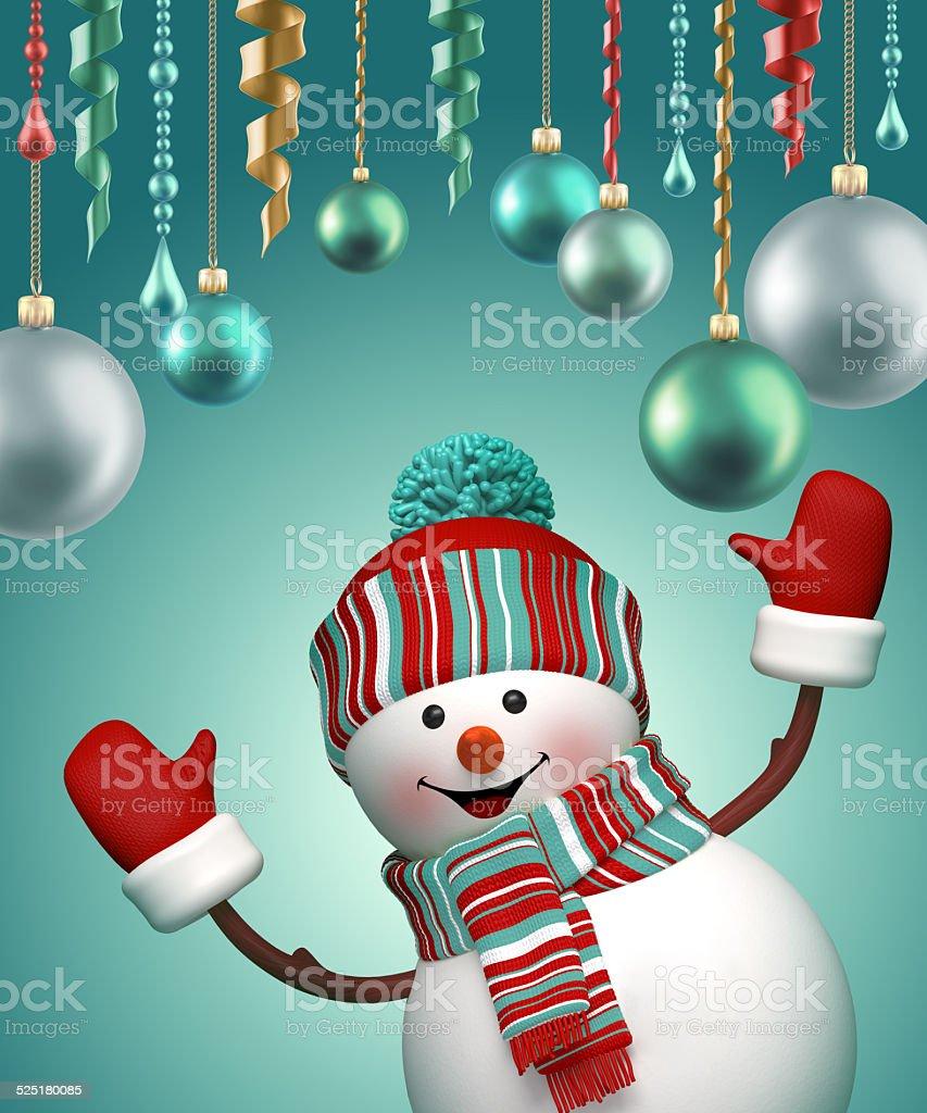 3d happy snowman celebrating Christmas, holiday background vector art illustration
