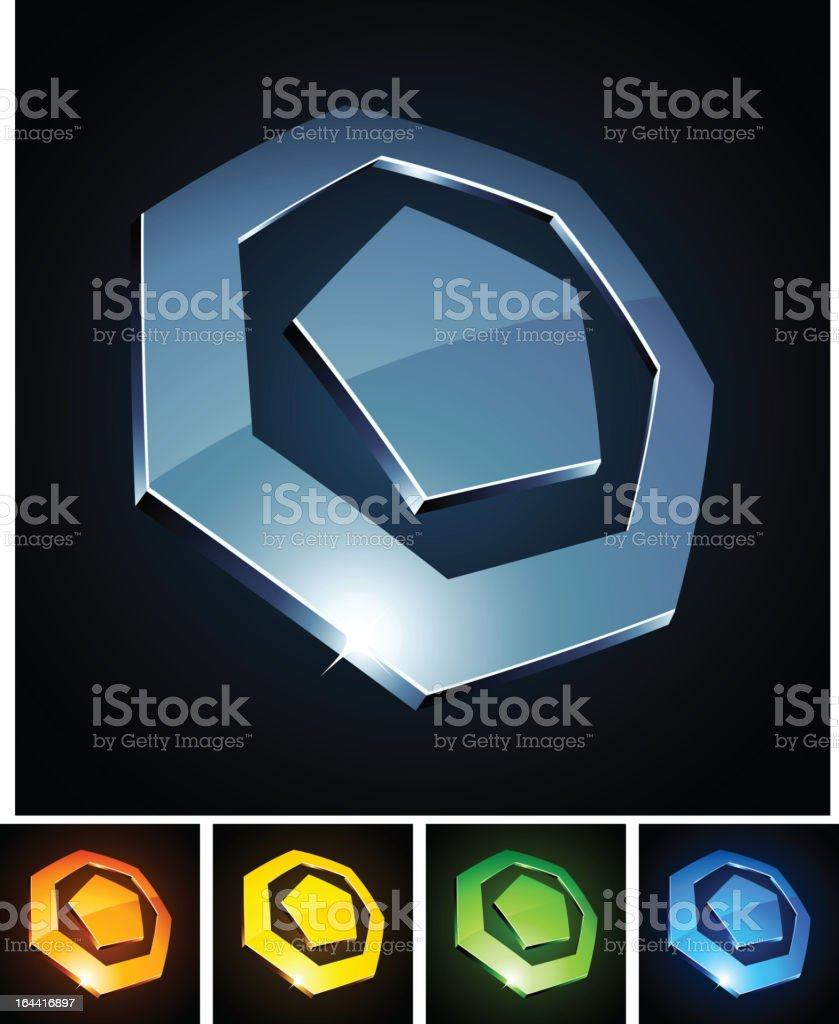3d heptagonal emblems. royalty-free stock vector art