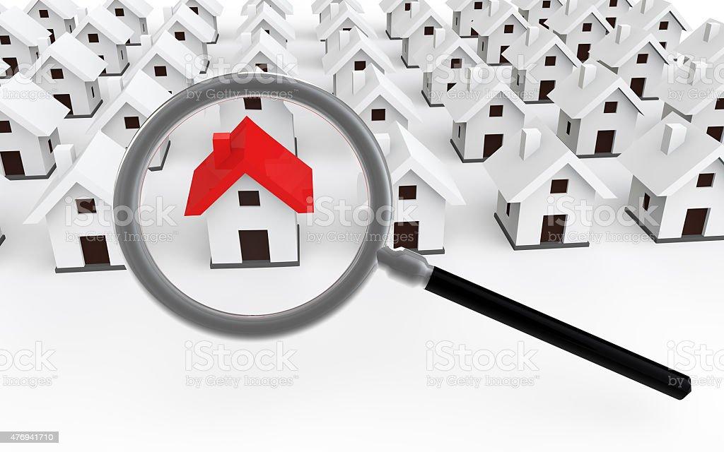 3d house search concept vector art illustration