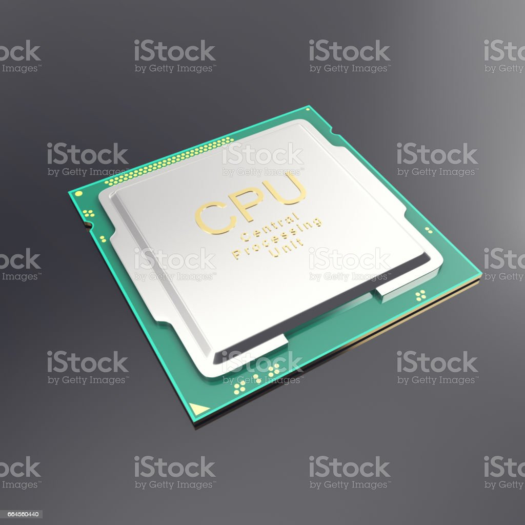3d illustration central processor unit, CPU isolated on white. stock photo