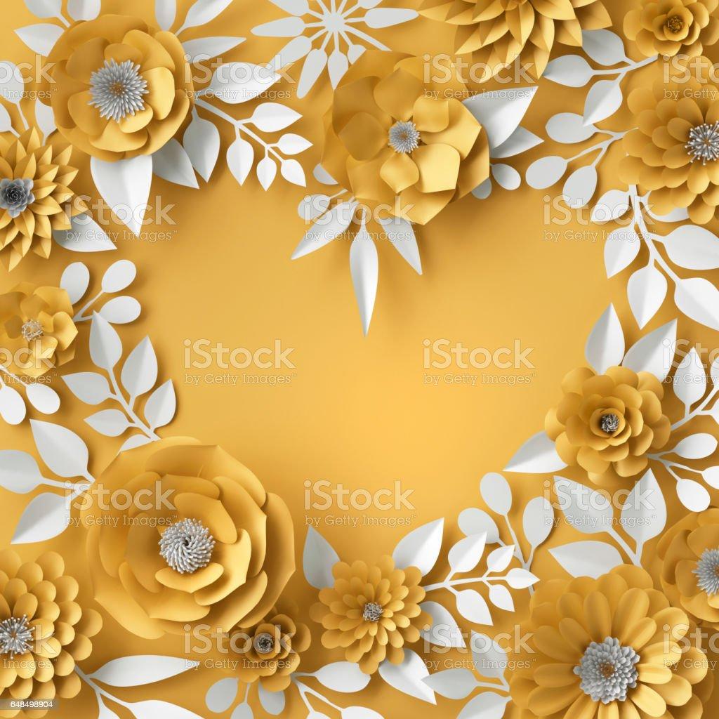 3d illustration, decorative red paper flowers background, floral heart frame vector art illustration