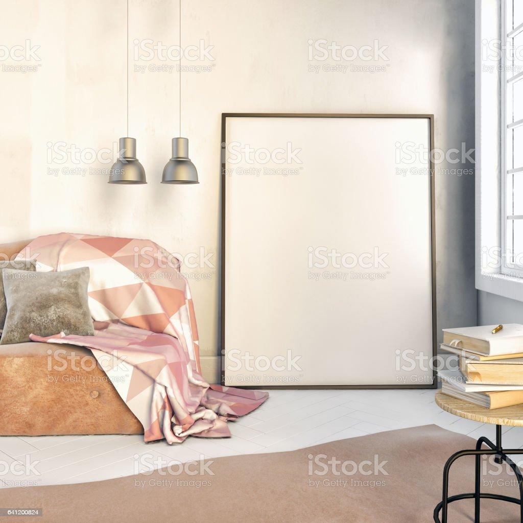 3d illustration, interior with beige velvet sofa. vector art illustration