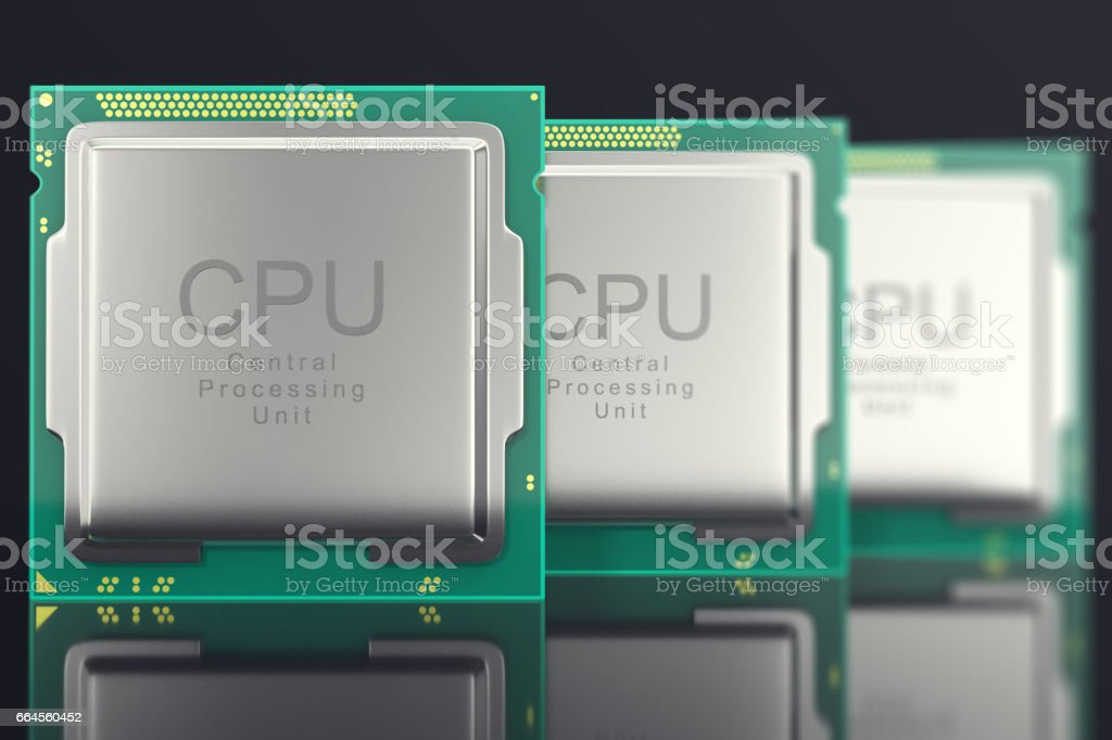 3d illustration modern multicore CPU on black background stock photo