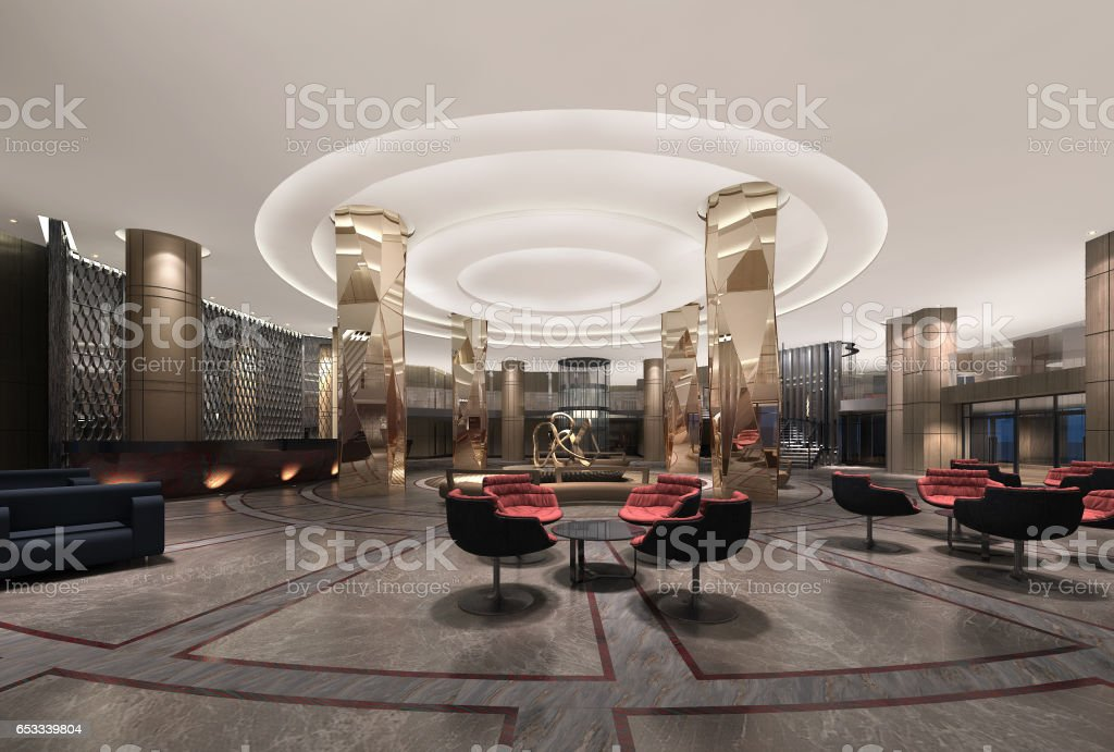 3d illustration of a deluxe hotel lobby modern style vector art illustration