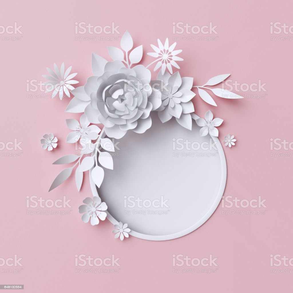Vector round frame with pink flowers on white background in pastel - 3d Illustration White Paper Flowers Pink Pastel Decorative Floral Background Round Frame