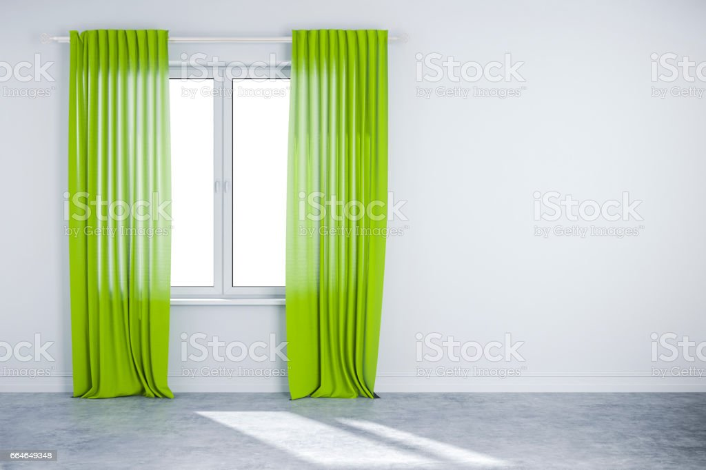 3d interior wall with window and curtain vector art illustration